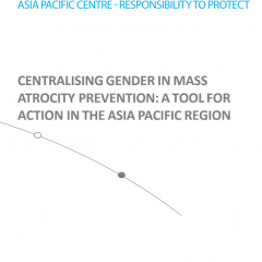 Title page of Gender in Mass Atrocity Prevention report